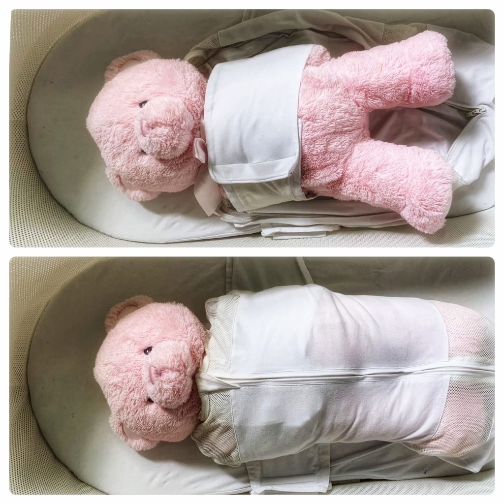Stuffed bear in the SNOO bassinet swaddle